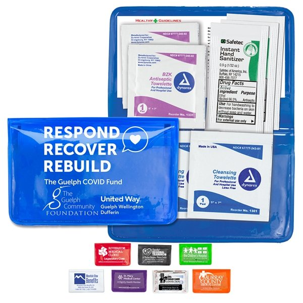 Promotional Sanitizer Wipes On - the - Go Kit in Colorful Vinyl Pouch