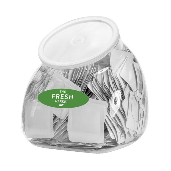 Promotional 94 oz. Single Use Sanitizer Tub Display (Includes 500 Blank Packets)