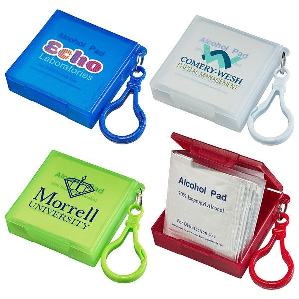 Promotional Handy Pack Sanitizing Wipes with Carabiner