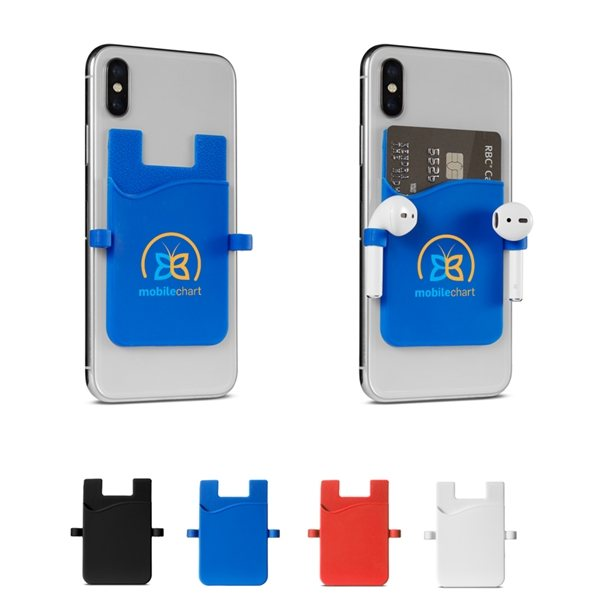 Promotional Silicone Smartphone Pocket With Earbud Loops