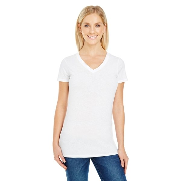Promotional Threadfast Apparel Ladies Pigment - Dye Short - Sleeve V - Neck T - Shirt
