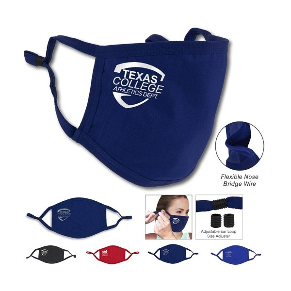 Promotional 3- Ply Comfort Fit Face Mask 95 Cotton Washable And Reusable With Newly Added Ear Loop Size Adjuster