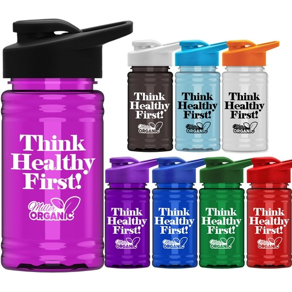 Promotional UpCycle - Mini 16 Oz. RPet Sports Bottle With Drink Thru Lid
