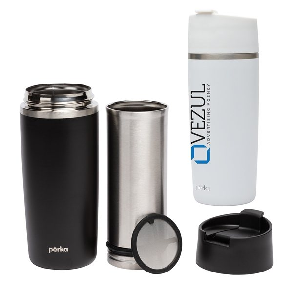 Promotional Perka(R) Macchiato 12 oz. Double Wall Coffee / Tea Press Tumbler