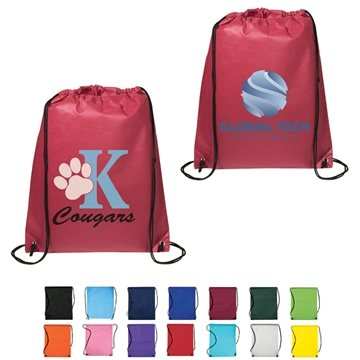 Non Woven Multi Color Drawstring Cinch-Up Backpack 14.5'' X 17.5''