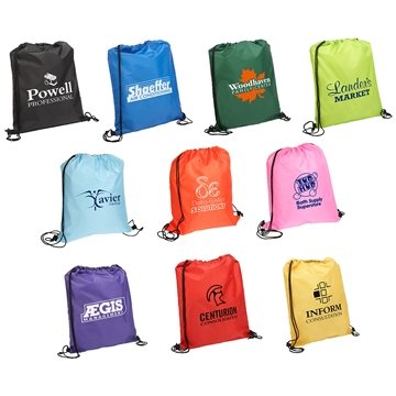 Quick-Sling Polyester Drawstring Backpack - 13.5'' x 16.25''