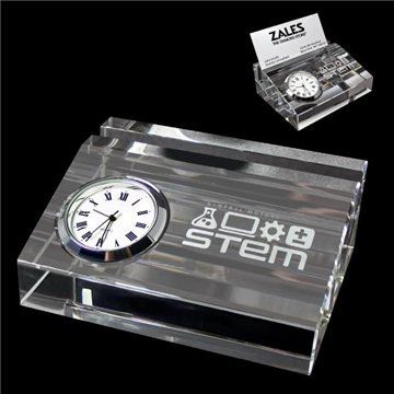 Crystal Card Holder With Clock