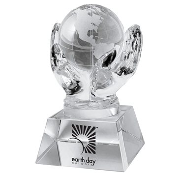 Crystal Hands Holding Globe (Clear)