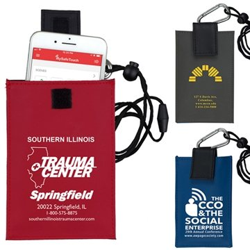 Cell Phone & ID Holder Wallet with Carabiner and Breakaway Safety Lanyard