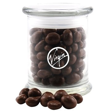 3 1/2'' Round Glass 12 oz Jar with Chocolate Covered Peanuts