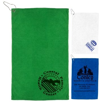 ''The Iron'' 300 GSM Heavy Duty Microfiber Golf Towel with Metal Grommet and Clip 12''x18''