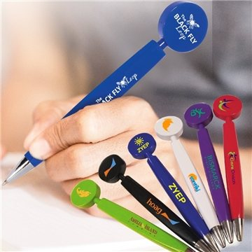 Pen with round flat top clicker