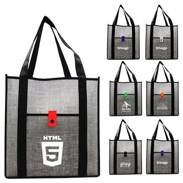 Grey Denim Grocery Tote