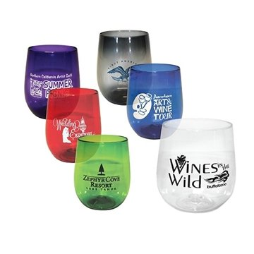 125 Vinello Shatterproof Stemless Wine Glasses - 12 oz (Screen Printed)