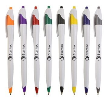 White pen with colorful trim